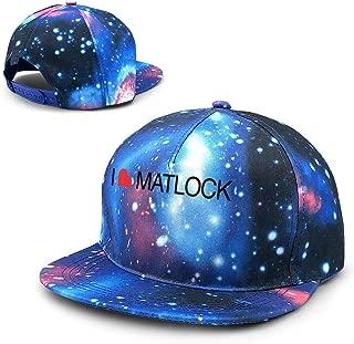 Unisex I Love Matlock Galaxy Cotton Hip Hop Snapback Flat Brim Hat Adult Dad Baseball Caps Blue
