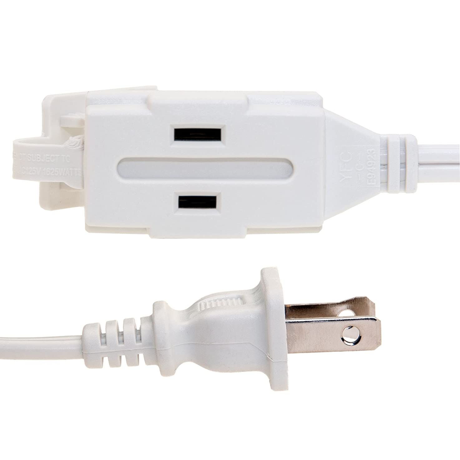 6ft 3 Outlet Power Extension Cord, UL/CSA White 16/2