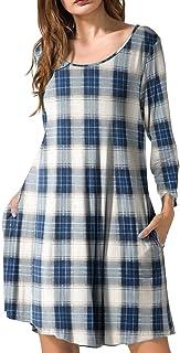 JollieLovin Women's Casual Swing 3/4 Sleeve Pockets T-Shirt Loose Dress