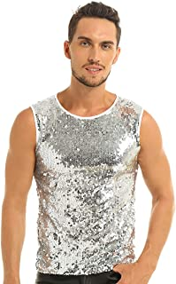 JEATHA Men's Shiny Sequins Muscle Tank Top Vest Sleeveless Fitted Tee Shirts Blouse Fancy Party Costumes