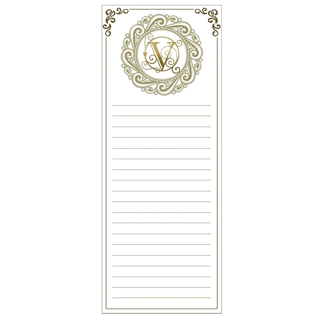 職業泣き叫ぶ親指Grasslands Road Cucina Monogram Metallic Gold Letter Initial V Magnetic Memo Pad