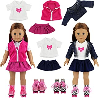 Miunana 2 Set Skates Ice Boots Shoes + 2 PCS Jackets + 2 PCS