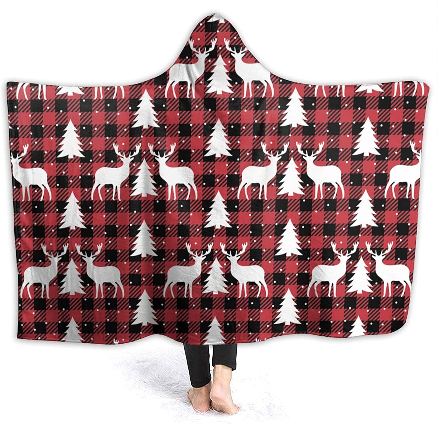 Hooded Blanket Christmas Pattern Super sale period limited and Wearable Fla Be super welcome Buffalo Plaid