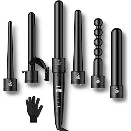 ELEHOT Curling Iron Curing Wand Set 6 in 1 Interchangeable Ceramic Tourmaline Hair Barrels and Temperature Display & Heat Settings with Protective Glove (Black)