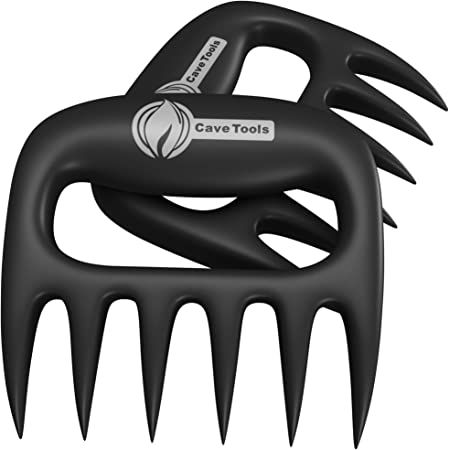 Cave Tools Meat Claws for Shredding Pulled Pork, Chicken, Turkey, and Beef- Handling & Carving Food - Barbecue Grill Accessories for Smoker, or Slow Cooker - Gun Metal