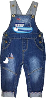 Kidscool Space Baby Easy Diaper Changing Ship Embroidered Soft Jeans Overalls