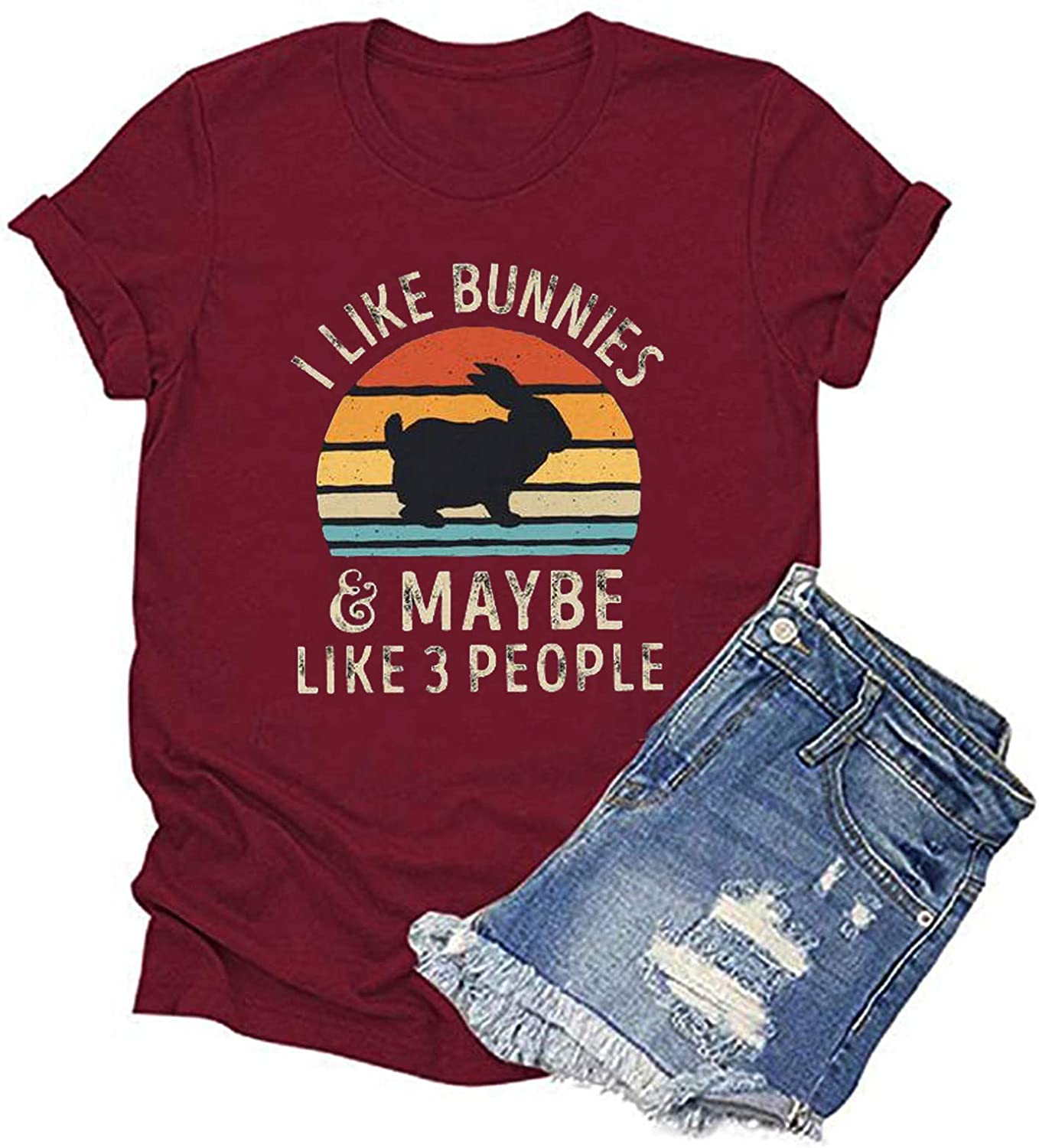 Tshirts for Womens,Women Summer Casual Easter Print T-Shirt Short Sleeve Graphic Tees Blouse Tops