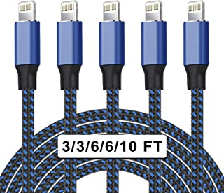 UNEN MFi Certified 5Pack[3/3/6/6/10ft] Nylon Braided iPhone Charger Lightning Cable Fast Charging&Syncing Long Cord Compat...
