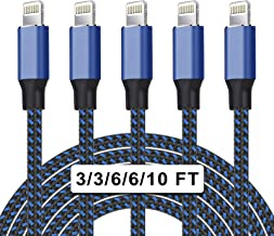 UNEN MFi Certified 5Pack[3/3/6/6/10ft] Nylon Braided iPhone Charger Lightning Cable Fast Charging&Syncing Long Cord Compatible iPhone 11Pro Max/11Pro/11/XS/Max/XR/X/8/8P/7 and More-Black&Blue