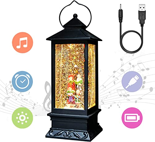 Eldnacele Christmas Musical Snow Globe Lantern Plug in & Battery Operated Glitter Lamp Navitity Scene Lighted Lantern...