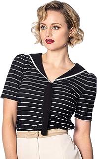 Dancing Days Vintage Black Pier Stripe Jersey Top