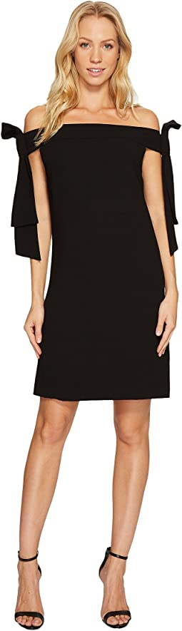 CeCe - Bow Tie Off Shoulder Crepe Sheath Dress