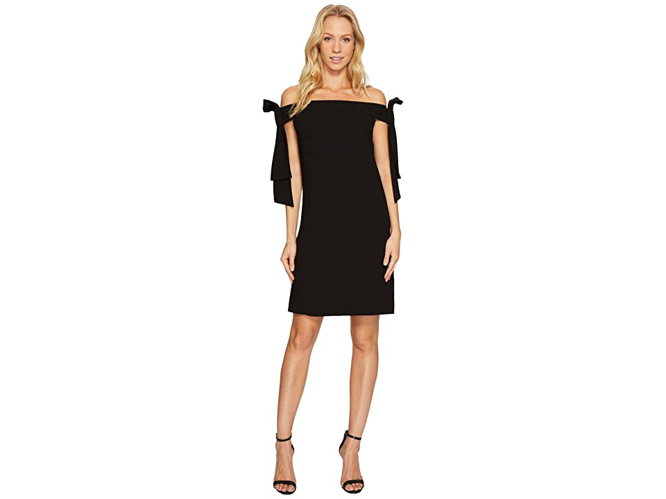 CeCe Bow Tie Off Shoulder Crepe Sheath Dress (Rich Black) Women