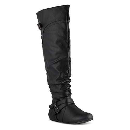 73599f39d33 Twisted Women s Shelly Wide Calf Slouchy Over The Knee Faux Leather Fashion  Boot