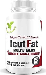 IcutFat-Healthy Metabolism Support Multivitamin(60 Vegan Capsules, Sinetrol®, Guarana, L-Carnitine, Mango Seed, Green Tea, Q10 and Multivitamin)