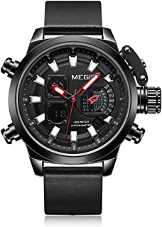2090 Multifunctional Quartz Sports Men Watch Chronograph 2 Movements Alarm Clock Dual Time Zone Hourly Chime Luminous and ...