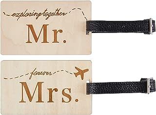 Mr Mrs honeymoon Luggage Tags Wood Travel Cute Couples Gift (2 pcs set)