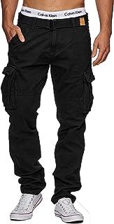 Indicode Uomo William Pantalone Cargo in Cotone con 7 Tasche incl. Cintura | Lungo Regular Fit Pantaloni Casual da Trekkin...