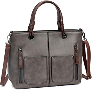 ZZZ Women's Handbag PU Large-Capacity Shoulder Bag Messenger Bag Tote Bag PU Leather Shopping Travel Laptop Bag For Ladies Wallet Storage Bag High Capacity fashion (Color : Grey)