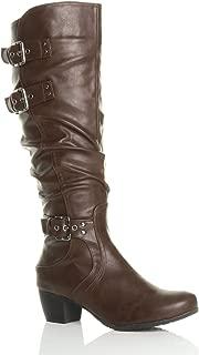 Ajvani Women's Ladies Mid Cuban Heel Ruched Calf Knee Boots Size