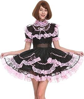 Sissy Girl Maid Black Organza Lockable See Through Dress Uniform Crossdress