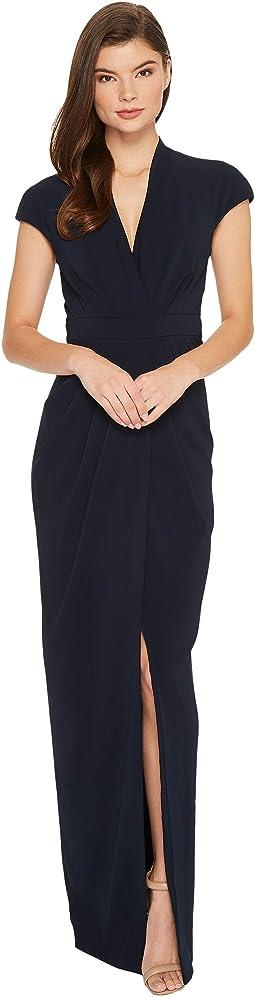 Badgley Mischka - Cap Sleeve Crepe Dress