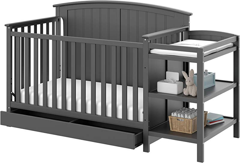 Storkcraft Steveston 4 IN 1 Convertible Crib And Changer With Drawer Gray Easily Converts To Toddler Bed Day Bed Or Full Bed 3 Position Adjustable Height Mattress