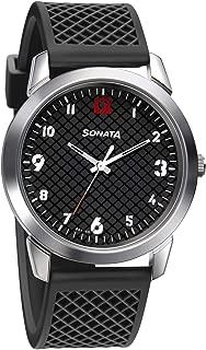 Sonata Smart Plaid Analog Black Dial Men's Watch-77107SP02