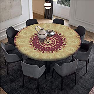 AngelSept-LJH Table Cloth Pull Rope Edge Fitted Table Cover Great for Indoor and Outdoor Dining and Playing Cards,Vintage Floral Image Antique Style Round Golden Leaf Pattern Symmetry,Gold Red