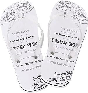 Lillian Rose Women Small 5-6 Just Married Imprint Honeymoon Flip Flops