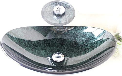 HomeLava Lavabo Vasque en Verre Trempé Vert, avec Robinet Cascade à poser la salle de bain