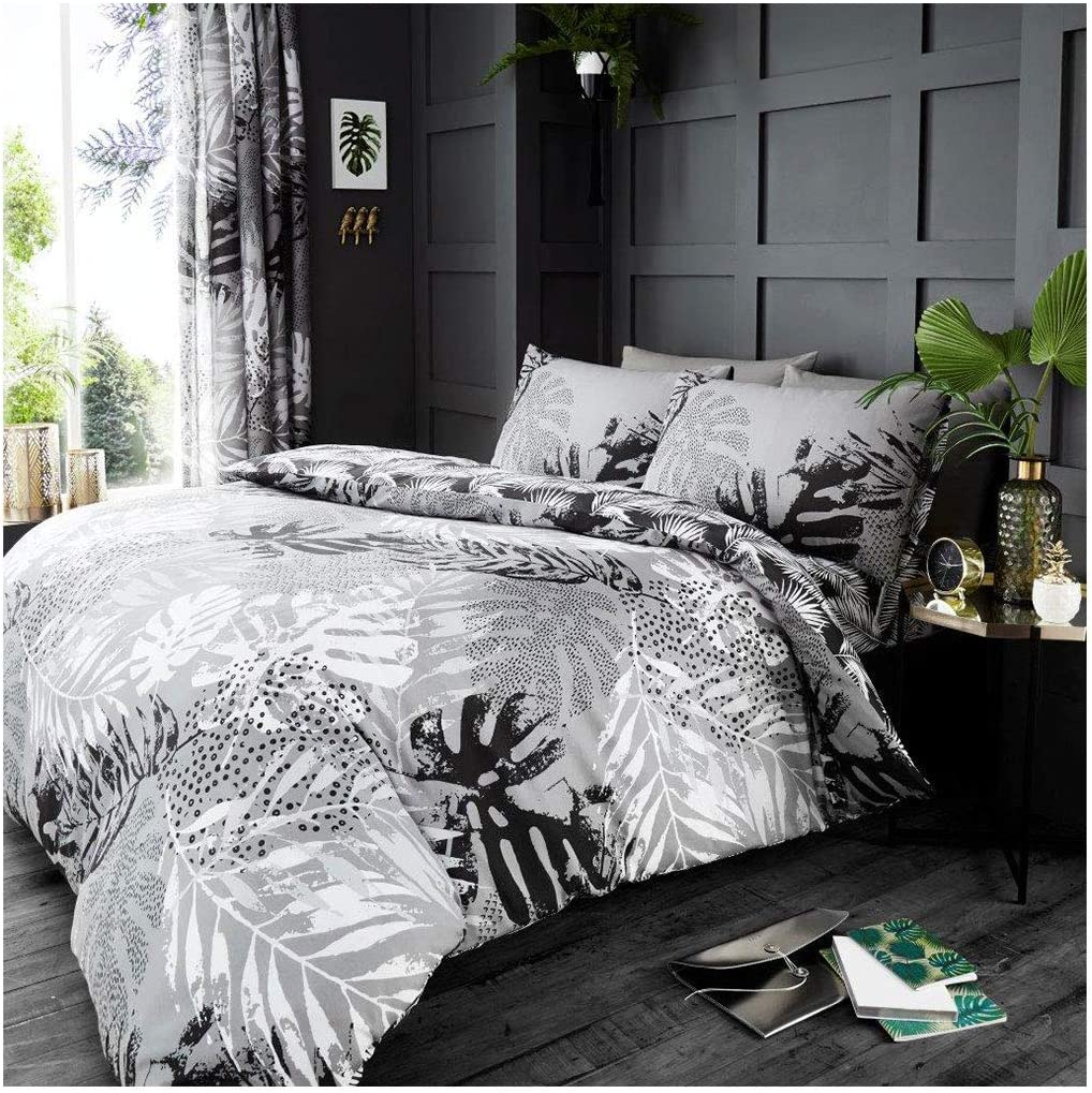 Gaveno Cavailia Botanic Palm Tropical Leaf Duvet Set Cotton Blend Reversible Printed Bedding Easy Care Bedset 1 Quilt Cover And 2 Pillow Cases Double Grey Amazon Co Uk Kitchen Home