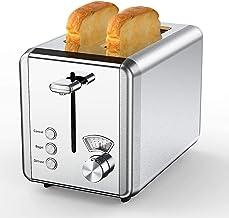 Toaster 2 Slice Best Rated Prime، whall Stainless Steel، Bagel Toaster - 6 تنظیمات سایه نان ، Bagel / Defrost / Reheat / Cancel عملکرد ، اسلات های بزرگ 1.5 اینچی ، سینی خرده متحرک ، برای انواع نان (850W ، تکه)