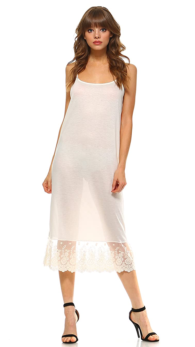 Long Lace Full Slip Solid Knit Cami Dress Extender with Adjustable Straps