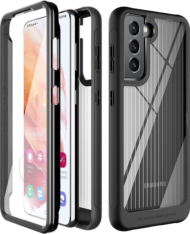 PZOZ Hülle Kompatibel mit Samsung Galaxy s21 5G,Hartem PC-Rahmen + Stoßfestem TPU-Stoßfänger + Harter, Klarer Rücken,360 ° Robuste Doppelschichtige Schutzhülle (Schwarz)