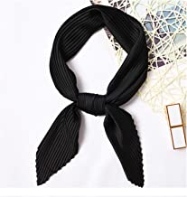 Square Crinkle Neck Scarf Crumple Bandana Neck Wear Pleated Print Foulard Female Handkerchief