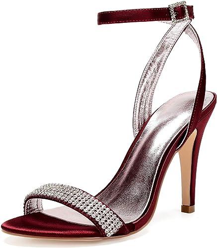 LHWAN frauen satin peep toe high heel schnallen strap strass d& 039;orsay hochzeit brautschuhe sandalen