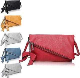 Clutch 2-in-1 - Kleine Handtasche Rot Elegante Abendtasche - Damen Umhängetasche - Schultertasche Abnehmbarer Gurt - inkl....