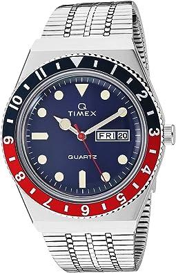 38 mm Q Timex Reissue Stainless Steel Case Blue Dial Stainless Steel Bracelet