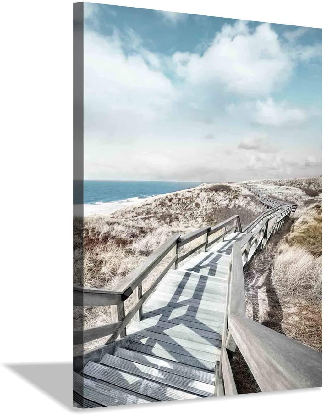 Beach Pier Canvas Wall Art: Boardwalk Stair Picture Graphic Art Painting for Wall Decor(12''x16'')