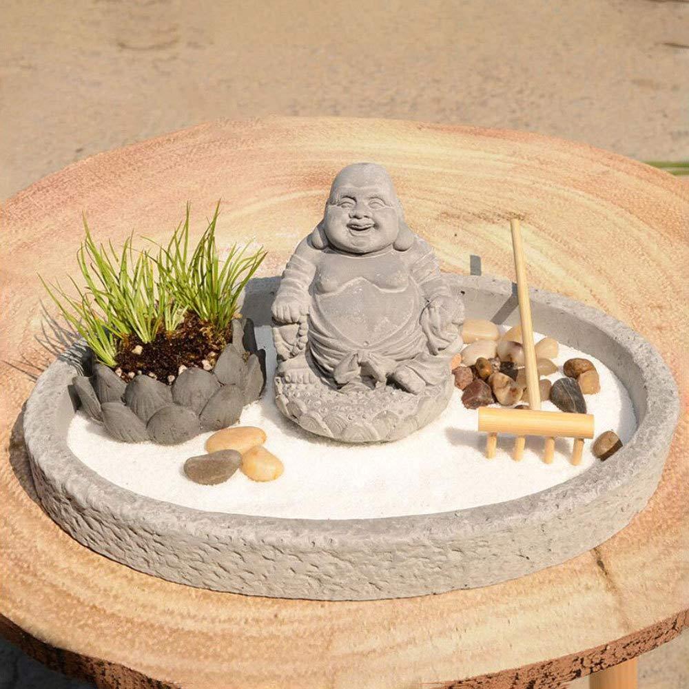 MAOZHE Zen Garden Sand Tray Meditación de Paisaje seco Mesa de Arena meditación Micro Paisaje Paisaje seco Micro Paisaje Arena Arte Natural Decoración para el hogar para Mostrar Adornos de Mesa: Amazon.es: