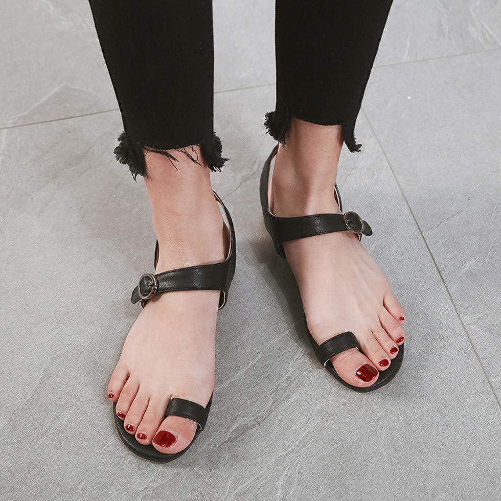 Memela Clearance sale Womens Flat Sandals Summer Shoes Open Toe Beach Breathable Flat Buckle Strap Sandals Rome Shoes