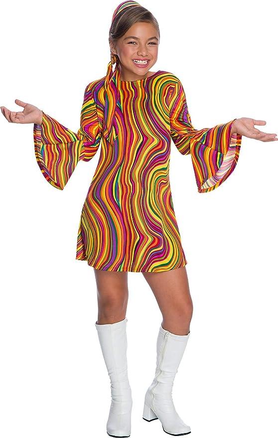 60s 70s Kids Costumes & Clothing Girls & Boys Charades Costumes - Girls Rainbow Lights Disco Diva Costume  AT vintagedancer.com
