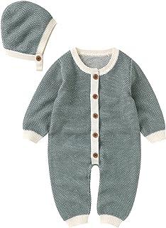 طفلة بوي ارتداءها الملابس القطن محبوك سترة رومبير بذلة ملابس قبعة مجموعة الملابس (Color : Green, Size : 6M)