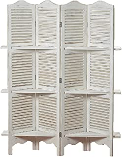 WHW Whole House Worlds Stockbridge 4 Panel White Room Divider with 3 Shelves and Louvered Shutters, Rustic White, Wood, Approximately 6 Ft Tall