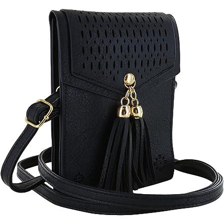 XiRRiX Damen Handy Umhängetasche/kleine Schultertasche zum umhängen/Crossbody Handtasche mit Quaste - Handytasche kompatibel mit Samsung Galaxy A52 A51 A32 A21s A21 S20 FE - Tasche schwarz