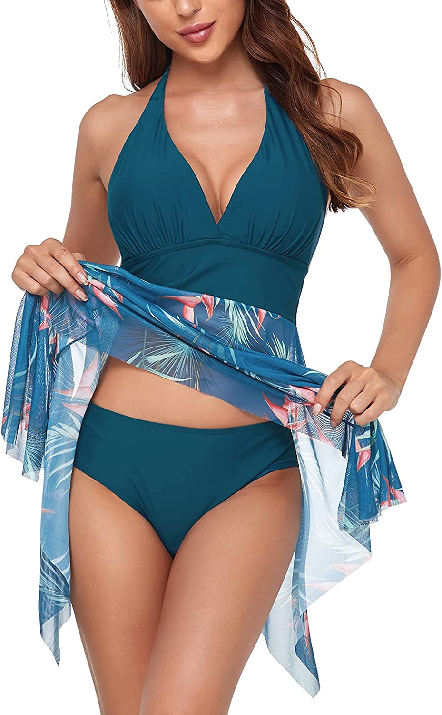 Yvette 2 Piece Bathing Suit for Women - Padded Swimsuit High Waisted Printed Bottom Bikini Summer Beachwear