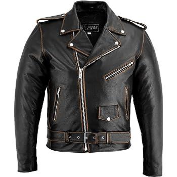 MISSMAOM Chaqueta de Cuero para Hombre Moto o Motocicleta Biker Moto con Cintur/ón