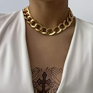 Asphire Punk Cuban Link Chain Choker Necklace Gold Chunky Chain Link Statement Necklace Boho Cable Chain Collar Necklace J...
