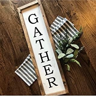 Gather | Vertical | Hand-painted Over-sized Wooden Sign | Modern Farmhouse Style | Fixer Upper inspired home decor